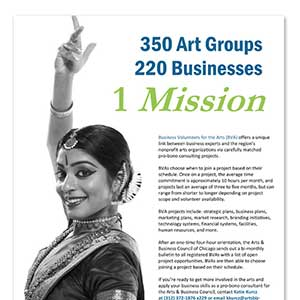 Arts & Business Council of Chicago Business Volunteer Flyer